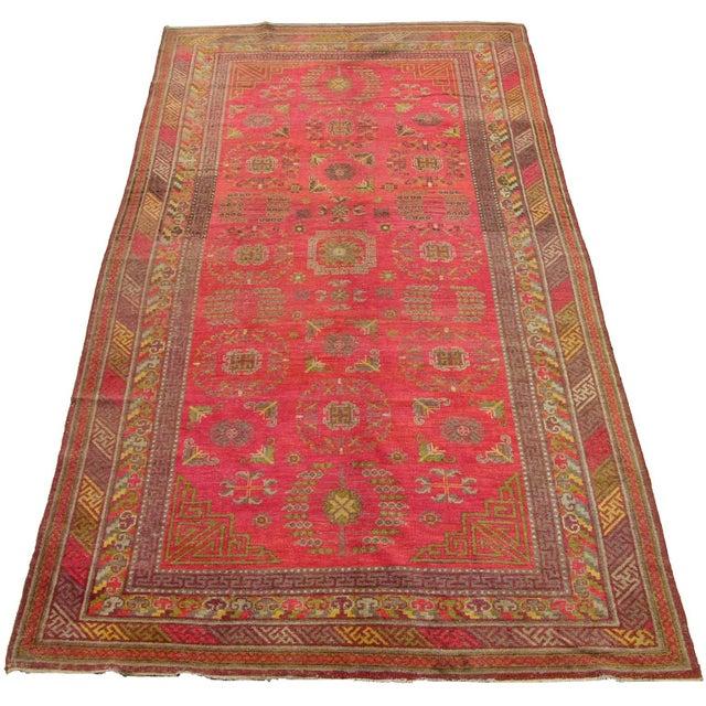 1900 - 1909 Antique Khotan Samarkand Runner -12'1'' X 6'7'' For Sale - Image 5 of 6