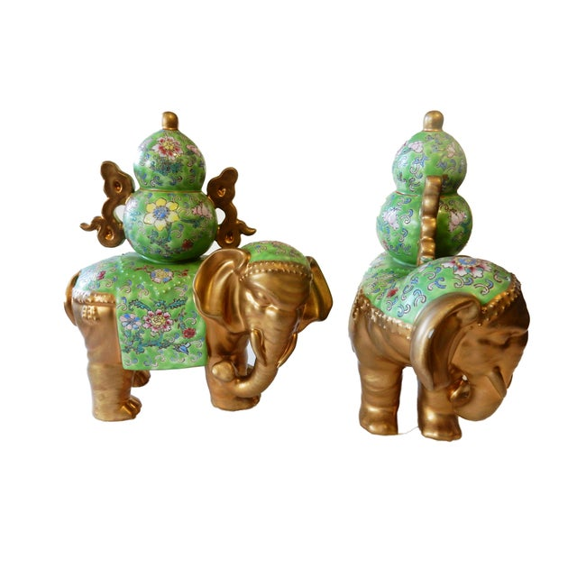 Asian Famille Verte Style Elephants - a Pair For Sale - Image 3 of 10