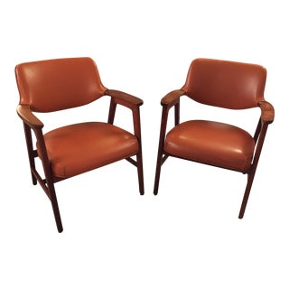 Mid -Century Gunlocke Burnt Orange Vinyl Chairs - a Pair