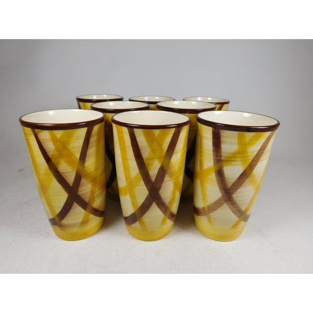 Set your table with classic California pottery. Set of eight hand-painted pottery tumblers with a plaid pattern. Made by...