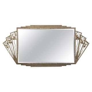 French Art Deco Nickel Wall Mirror For Sale