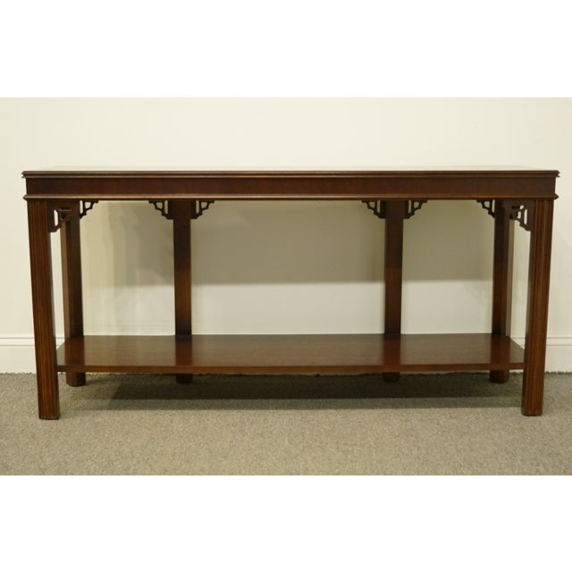 "Mahogany 20th Century Traditional Lane Furniture Altavista Bookmatched Banded Mahogany Mediterranean Style 54"" Accent Sofa/Console Table For Sale - Image 7 of 11"