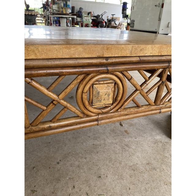 Chinese Chippendale Fretwork Rattan Coffee Table For Sale - Image 4 of 13