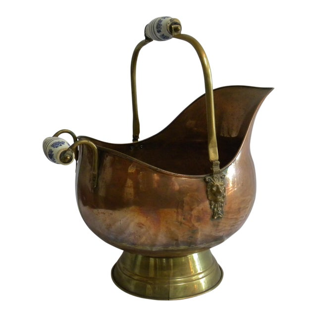 Vintage Copper Fireplace Bucket With Handles For Sale