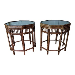 Vintage Bamboo Brighton Style Side Tables - a Pair For Sale