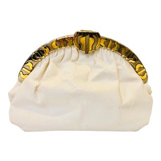 Finesse La Model White Lizard Clutch With Two Toned Hardware For Sale