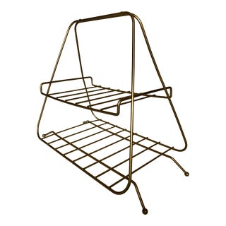 1960s Vintage Brass Two Tier Wire Magazine Rack For Sale