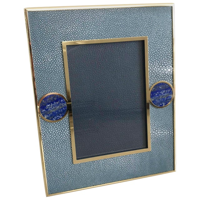 Metal Blue Shagreen With Lapis Lazuli Photo Frame by Fabio Ltd For Sale - Image 7 of 7