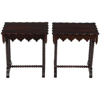 1940s Gothic End Tables - a Pair For Sale