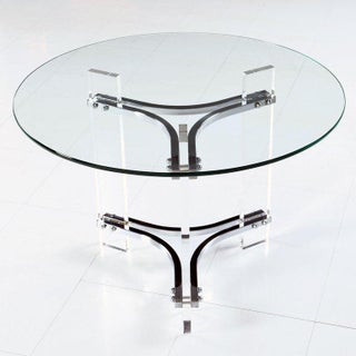 Charles Hollis Jones Acrylic Lucite and Chrome Cocktail Table With New Glass Top Preview