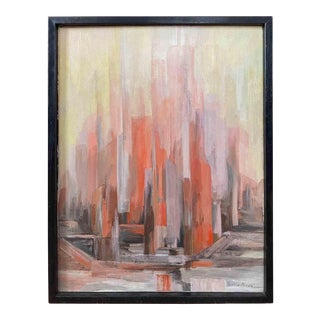 """Mid 20th Century """"Harborside"""" Cityscape Painting, Framed For Sale"""