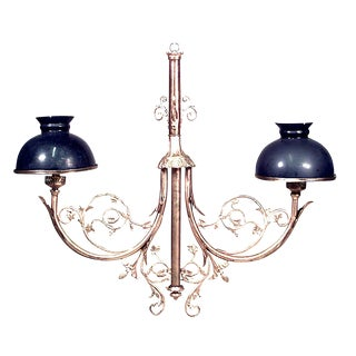 French Victorian Bronze Dore Scroll Design Billiard Light Fixture For Sale