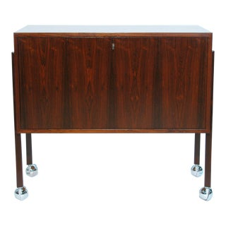 Danish Modernist Rosewood Lockable Bar Cabinet For Sale
