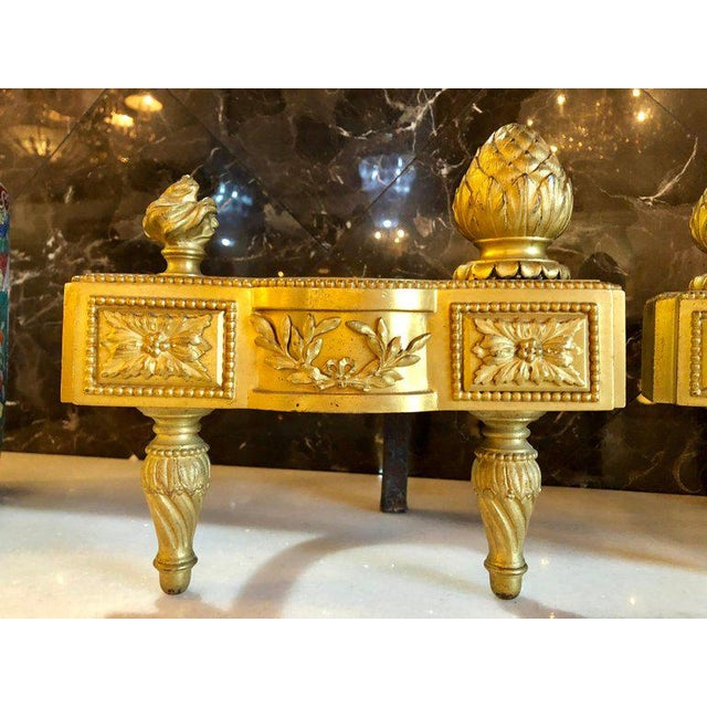 Louis XVI 19th Century Fine Pair of Bronze Dore Louis XVI Style Andirons For Sale - Image 3 of 11