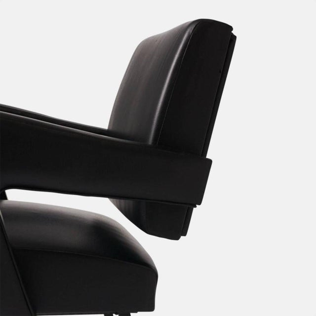 Jacques Adnet Leather Armchair For Sale In San Francisco - Image 6 of 7