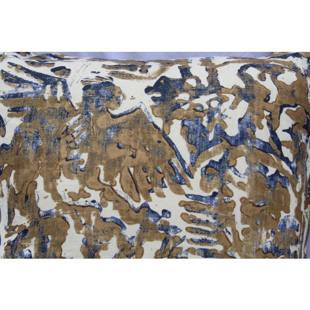 Contemporary Printed Linen Navy Blue and Bronze Down Pillows - a Pair For Sale - Image 9 of 12