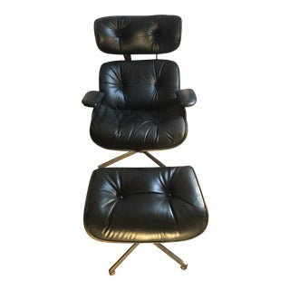 Mid Century Selig Black Leather & Wood Lounge Chair & Ottoman For Sale