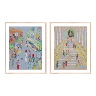 At the Museum & In the Street Diptych by Happy Menocal in Natural Maple Frame, Small Art Print For Sale