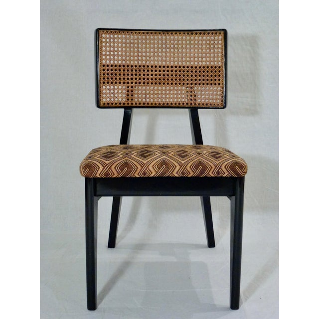 George Nelson for Herman Miller Cane Back Side Chair With Kuba Cloth Seat For Sale In Chicago - Image 6 of 11