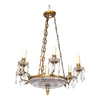 Antique Baccarat Diamond Cut Bronze Chandelier For Sale