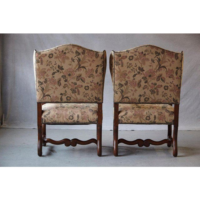Louis XIV Style Os De Mouton Walnut Wingback Fauteuils- A Pair For Sale In New York - Image 6 of 11
