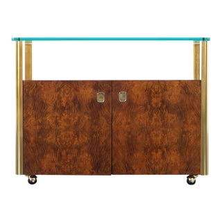 1970s Vintage Burl Wood and Brass Bar Cart by Century Furniture For Sale