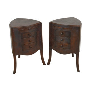 South Cone Pair of Leather Wrapped Triangular 3 Drawer Chests Nightstands For Sale
