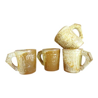 Frankoma Aztec Desert Gold Mayan Mugs - Set of 4