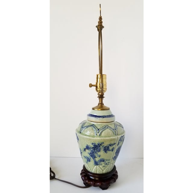 Asian Antique Chinese Celadon Ginger Jar Lamp For Sale - Image 3 of 9