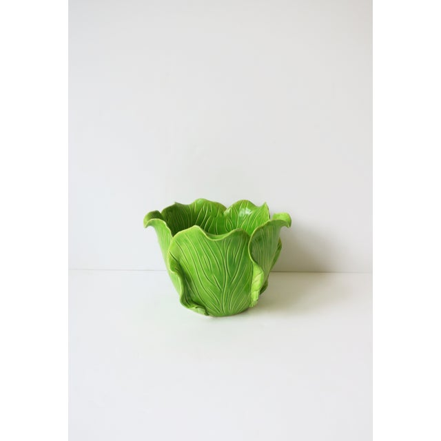 A beautiful and rare hand-made French green ceramic lettuce or cabbage leaf cachepot jardinière plant or flower pot holder...