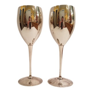 Vintage Kp Brazil Silver Plate Toasting Wine Goblets - a Pair For Sale