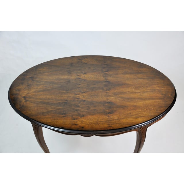 Queen Anne Vintage French Oval Queen Anne Cherry Wood Dining Table Circa 1960 For Sale - Image 3 of 13