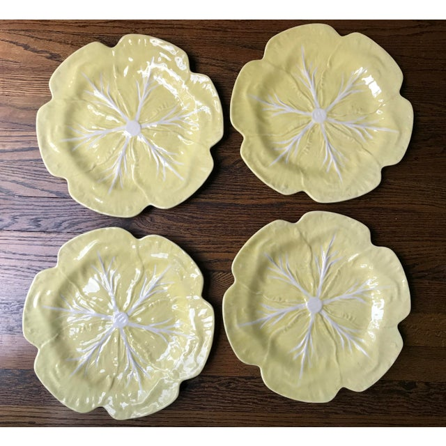 Vintage 1970s Bordallo Pinheiro Yellow Cabbage Leaf Chargers - Set of 4 For Sale - Image 9 of 9