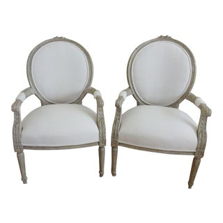 1940s Vintage French Louis XVI Style Open Arm Chairs- A Pair For Sale