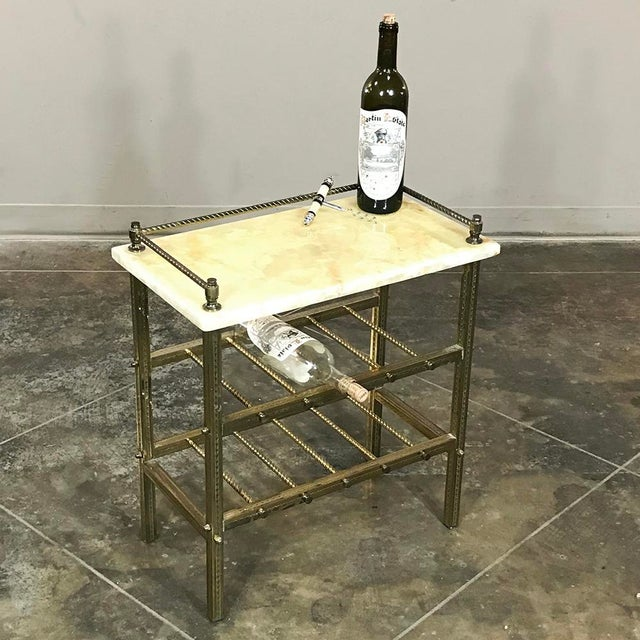 Mid-Century Brass & Marble Wine Serving Table features two racks below for bottles and a railed marble top for uncorking,...