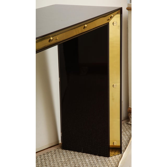 Brown Brown Lacquered Console with Brass Accents For Sale - Image 8 of 9