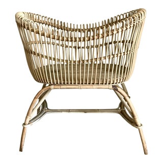 Mid Century Boho Chic Rattan Baby Bassinet/Crib For Sale