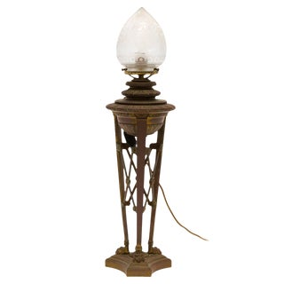 French Bronze 19th Century Converted Oil Lamp For Sale