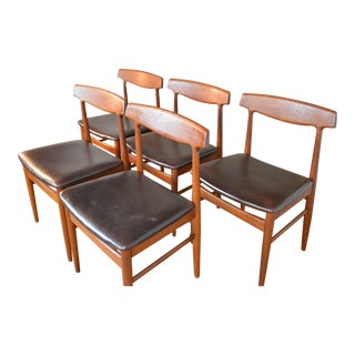 Set of Five Teak & Leather Danish Dining Chairs by Henning Kjaernule For Sale