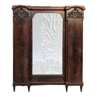 Antique French Neoclassical Mahogany Armoire For Sale