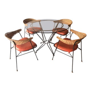 Maurizio Tempestini for Salterini Table With 4 Wicker & Iron Chairs