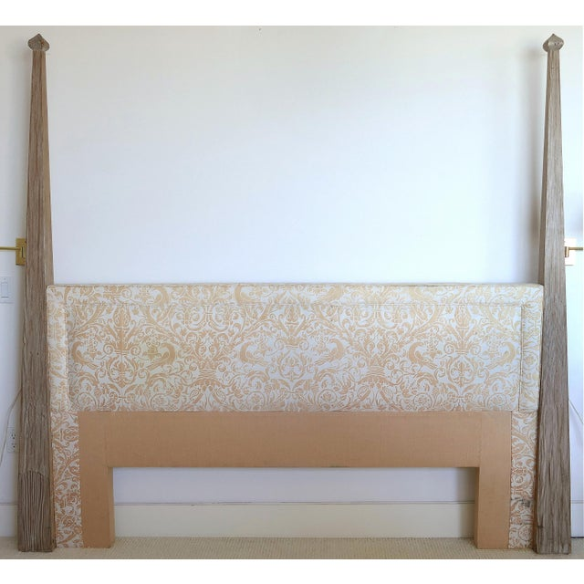 Wood Arts and Crafts Tommi Parzinger Cerused King Size Headboard For Sale - Image 7 of 7