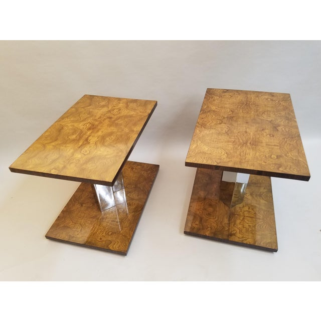 1930s Art Deco Burl Wood End Tables - a Pair For Sale In Chicago - Image 6 of 9