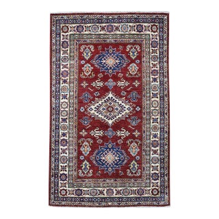 Red Kazak Pure Wool Geometric Design Hand-Knotted Rug For Sale