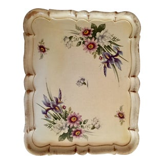 Italian Wildflower Botanical Hand-Painted Florentine Wood Tray For Sale