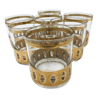 Mid Century 22k Gold Culver Antiqua Rocks Glasses - Set of 7 For Sale