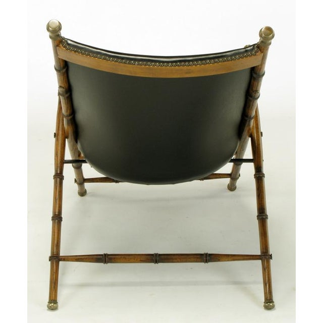 Italian Campaign Chair In Black Leather - Image 4 of 10