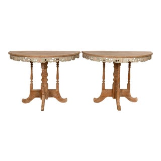Vintage Thai Teak Demilune Tables with Hand Carved Apron and Turned Base - A Pair For Sale
