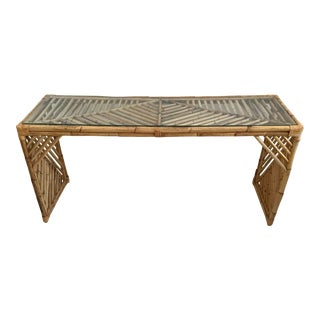 Vintage Bamboo Chevron Console Table For Sale