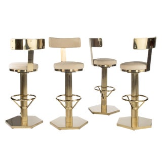 Hollywood Regency Gold Bar Chairs With Cream Linen Seat - Set of 4
